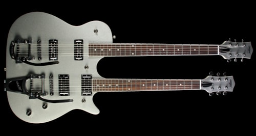Gretsch® G5566 Electromatic Jet Double Neck Baritone Electric Guitar Silver Sparkle