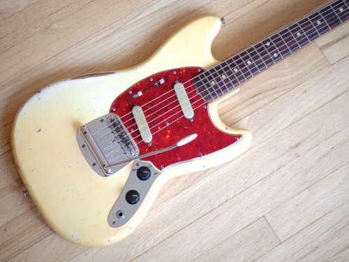 1965 Fender® Mustang® Vintage Electric Guitar Pre-CBS Olympic White w/ ohc