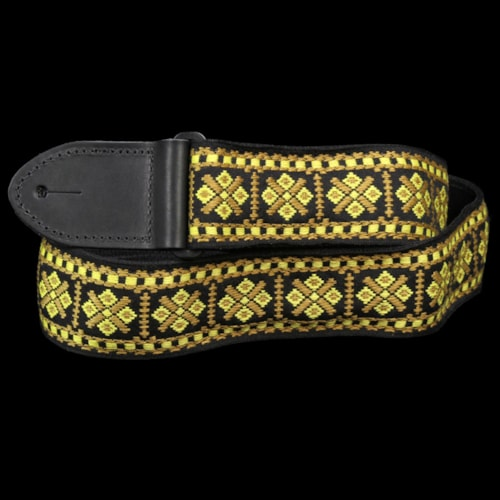Gretsch Gold Diamonds Woven Guitar Strap Black Ends