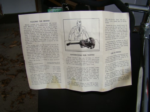 1955 Harmony Acoustic Guitar Care Pamphlet