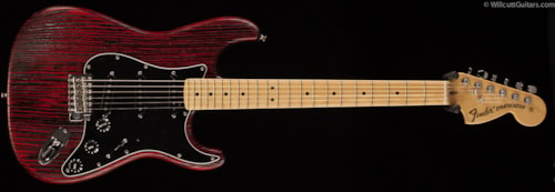 Fender® Limited Edition Sandblasted Ash Stratocaster® Crimson Red Transparent (958) Limited Edition Sandblasted Ash Stratocaster®