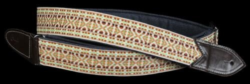 "Jodi Head Denim with Jaquard Pattern Guitar Strap 2"" Width Tan/Brown"