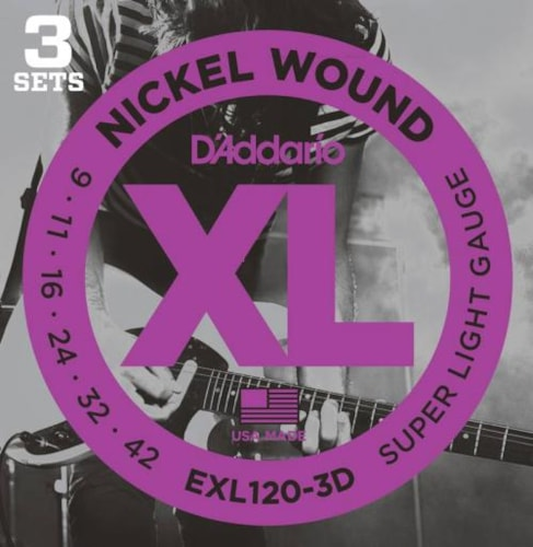 D'Addario 3-Pack Nickel Wound Electric Strings (Super Light 9-42)