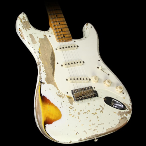 Fender Custom Shop Used 2008 Fender Custom Shop Masterbuilt Jason Smith Ultimate Relic Stratocaster Electric Guitar Olympic White over 3-Tone Sunburst