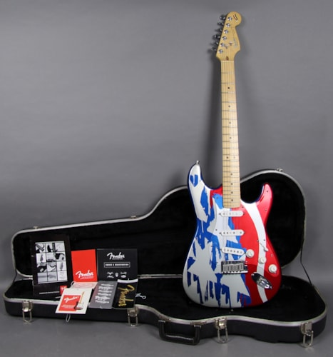 1994 fender 40th anniversary anodized aluminum stratocaster american flag finish guitars. Black Bedroom Furniture Sets. Home Design Ideas