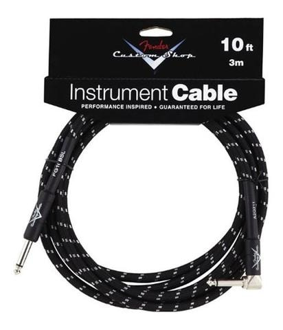 2014 Fender® 10' Right Angle Black Tweed Instrument Cable