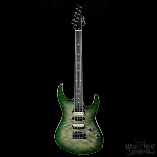 2016 Suhr Modern Carve Top Faded Trans Green Burst Satin African Mah