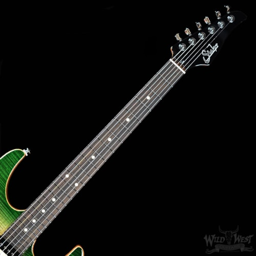 Suhr Suhr Modern Carve Top Faded Trans Green Burst w/Satin African Mahogany Neck
