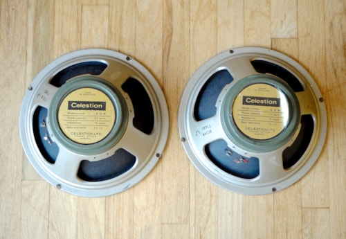 "1970 Celestion Greenback G12M Pre-Rola 12"" Speaker Pair T1221 Pro Recones"