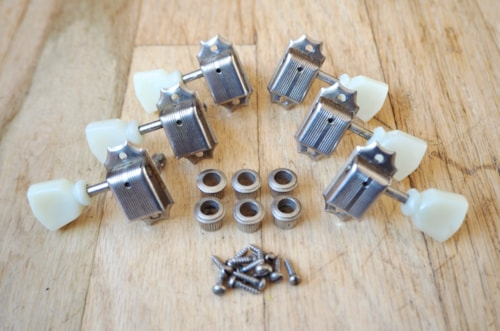 ~1955 Kluson Deluxe No Line Tuning Machine Set 3x3 Tulip Gibson Les Paul