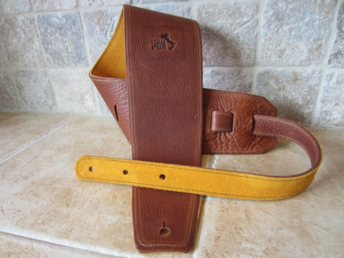 "2016 Italia Leather Straps 4"" Wide Acorn-Amber Suede Backing"