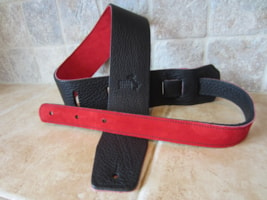 "2016 Italia Leather Straps 2.5"" Wide Black-Rossa Suede Backing"