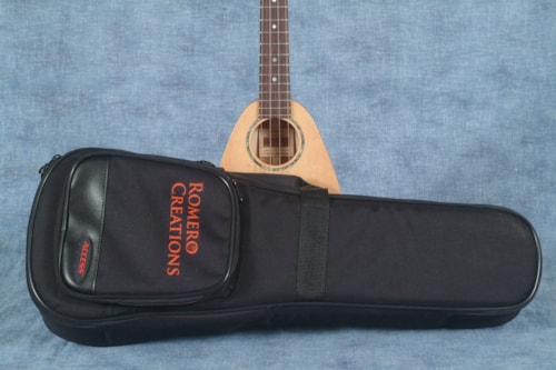 2017 ROMERO CREATIONS TINY TENOR UKULELE, SPRUCE TOP AND MAHOGANY BACK AND SIDES, WITH SOFT CASE