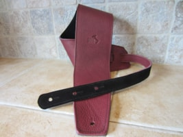 "2016 Italia Leather Straps 4"" Wide Wine-Black Suede Backing"
