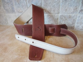 "2017 Italia Leather Straps 2.5"" Wide Acorn-Crema Suede Backing"