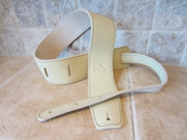 "Italia Leather Straps 2.5"" Wide Crema-Beige Suede Backing"