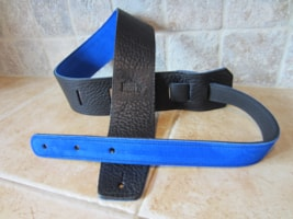 """2017 Italia Leather Straps 2.5"""" Wide Black-Royal Blue Suede Backing"""