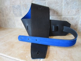 """2017 Italia Leather Straps 4"""" Wide Black-Royal Blue Suede Backing"""
