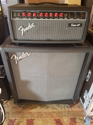 1988 Fender Super 60 Tube Amp Head And 4x10 Cab Gt Amps
