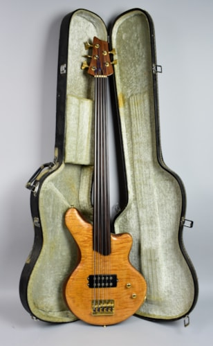 Handmade  Alembic Style Natural 5 String Fretless Bass Guitar w/HSC