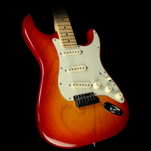 Fender® Used 2013 Fender® American Deluxe Ash Stratocaster® Strat® Electric Guitar Aged Cherry Burst