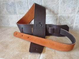"2017 Italia Leather Straps 2.5"" Wide Chocolate-Golden Brown Suede Backing"
