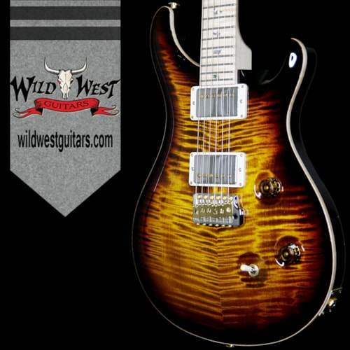 2017 PRS - Paul Reed Smith PRS Wood Library Flame 10 Top Custom 24 Black Gold Burst w/Flame Maple Neck and Fretboard