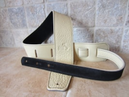 "2017 Italia Leather Straps 2.5"" Wide Crema-Black Suede Backing"