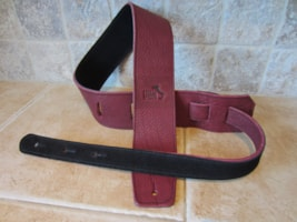 "2017 Italia Leather Straps 2.5"" Wide Wine-Black Suede Backing"