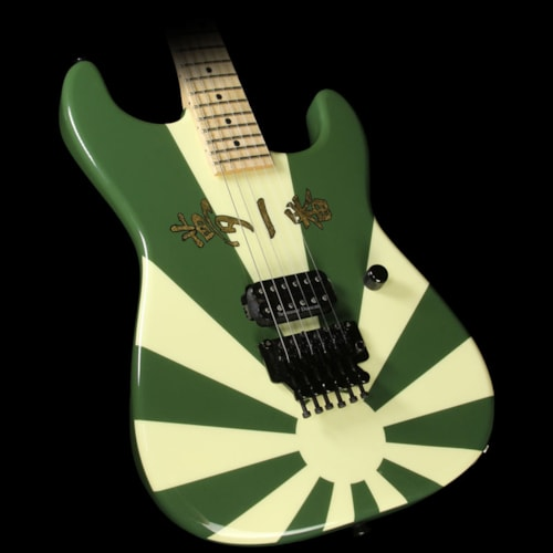 Charvel Used 2010 Charvel Custom Shop San Dimas Electric Guitar Rising Sun Green with Gold Leaf Letters