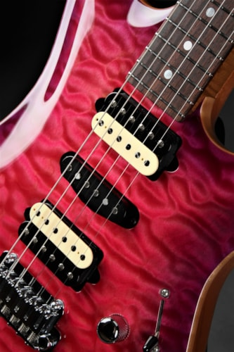 Suhr  Standard Carve Top - Trans Pink Stain With Purple Burst