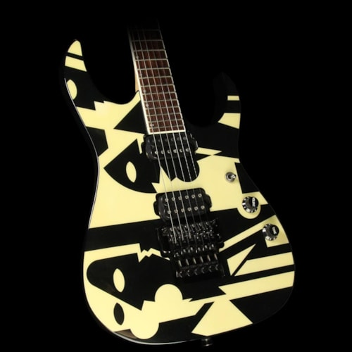 1997 Ibanez Used 1997 Ibanez John Petrucci JPM100 P3 Electric Guitar Black and White Picasso