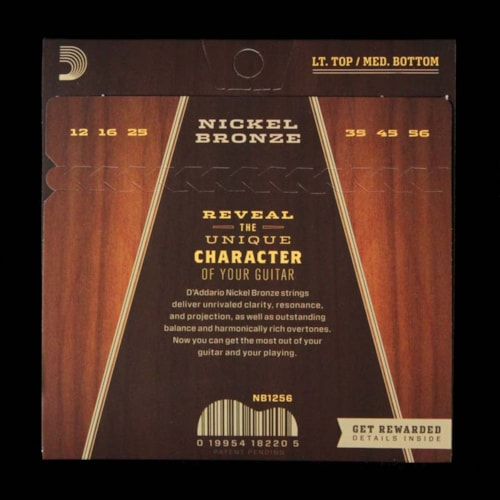 D'Addario Nickel Bronze Acoustic Guitar Strings Light Top Medium Bottom 12-56