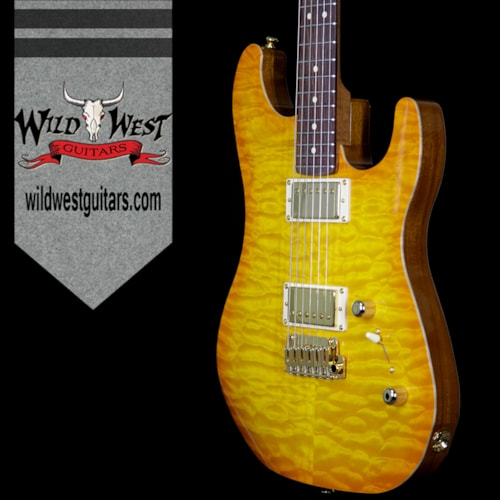 2017 LSL Instruments LsL XT2 Deluxe HH Quilt Maple Top and Roasted Quartersawn Maple Neck Amber Top and Brown Back