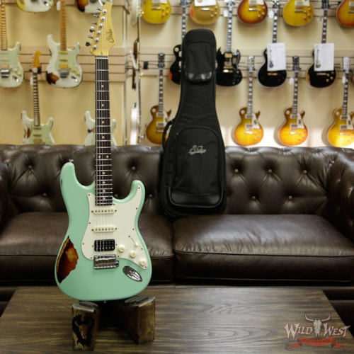2017 Suhr Limited Classic Antique Pro HSS Rosewood Fretboard Surf Green over 3 Tone Burst