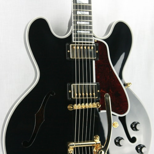 2017 Gibson 2017 Gibson ES-355 EBONY BLACK Gloss Limited Edition! Gold Bigsby! Memphis 335 345