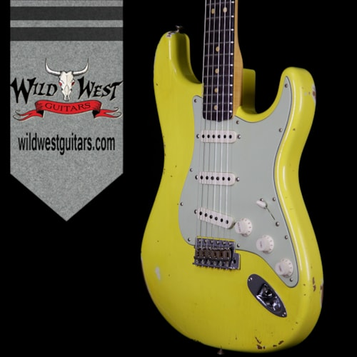 2017 Fender® Custom Shop Collection 1963 Stratocaster® Relic® Dark AAA Rosewood Fretboard Graffiti Yellow