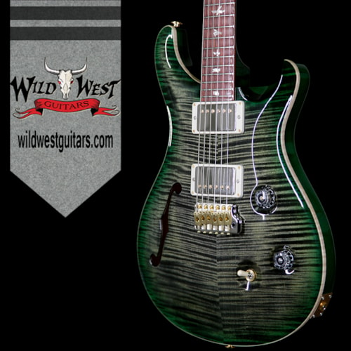 2017 PRS - Paul Reed Smith PRS Wood Library 10 Top Custom 24 Semi Hollow Flame Top & Neck Cocobolo Board Obsidian Green Burst