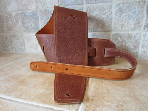 """Italia Leather Straps 4"""" Wide Acorn-Golden Brown  Suede Backing"""
