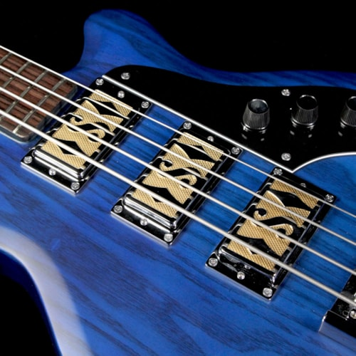 2017 Supro Used 2017 Supro Huntington III Electric Bass Guitar Transparent Blue
