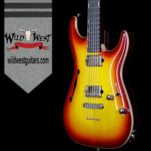 2017 Suhr Select Custom Standard Arch Top HH Semi-Hollow Spruce Top Mahogany Body Aged Cherry Burst