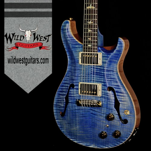 2018 PRS - Paul Reed Smith PRS Wood Library Flame 10 Top Hollowbody HB1 Piezo Brazilian Rosewood Board Faded Blue Jean