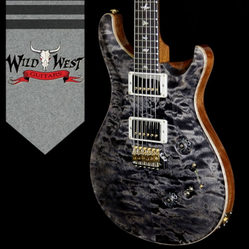 2018 PRS - Paul Reed Smith PRS Wood Library Quilted 10 Top Custom 24/08 Flame Maple Neck Brazilian Rosewood Fretboard Charcoal