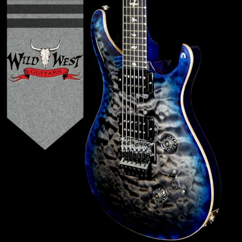 2018 PRS - Paul Reed Smith PRS Wood Library 10 Top Custom 24 Floyd Rose Quilt Top Flame Neck Ebony Board Charcoal Blue Burst
