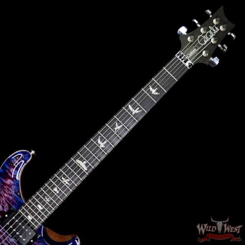 2018 PRS - Paul Reed Smith PRS Wood Library 10 Top Custom 24 Floyd Rose Quilt Top Flame Neck Ebony Board Violet Blue Burst