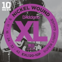 D'ADDARIO XL Super Light Guage Electric Guitar Strings, 10 pack with free String Winder