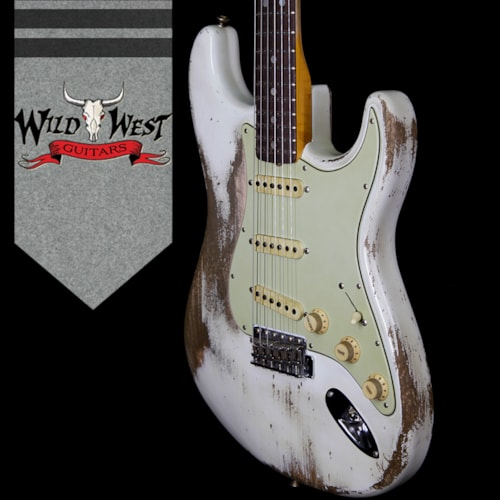 2018 Fender Custom Shop Jason Smith Masterbuilt 1969 Stratocaster Heavy Relic Reverse Head Rosewood Board Olympic White