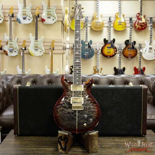 2018 Paul Reed Smith - PRS PRS Wood Library Quilt 10 Top Santana Retro Flame Mahogany Neck Brazilian Rosewood Board Charcoal Cherry Burst